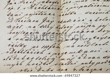 old letter 1870 detail of manuscript calligraphy - stock photo