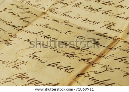 Old letter with elegant handwriting - stock photo