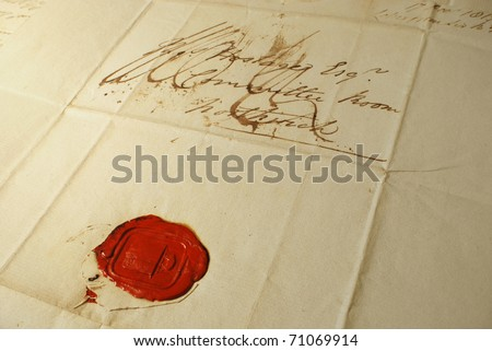 Old letter with elegant handwriting from 1800's with distinctive wax seal - stock photo