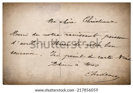 old letter with handwritten text from ca. 1900. grunge vintage cardboard. retro style toned picture - stock photo