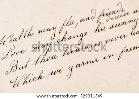 Old letter with handwritten text. Grunge vintage texture background