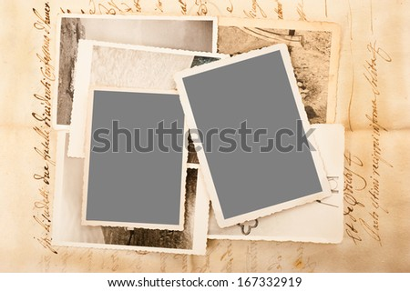 old letter with old pictures - stock photo