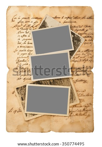 old letter with old pictures isolated on white - stock photo
