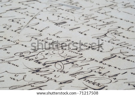 Old letter with vintage handwriting. - stock photo