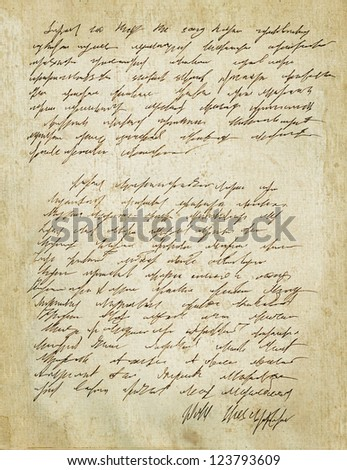 Old letter with vintage handwriting. Grunge background - stock photo