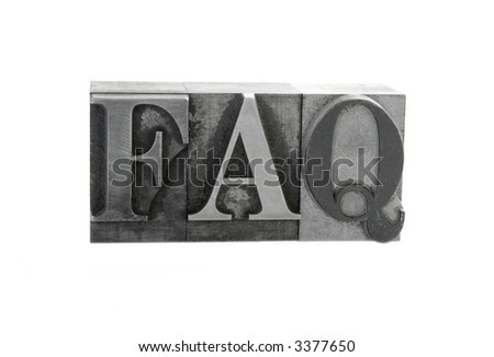 old letterpress metal type letters form the word 'FAQ' in all caps, isolated on white - stock photo
