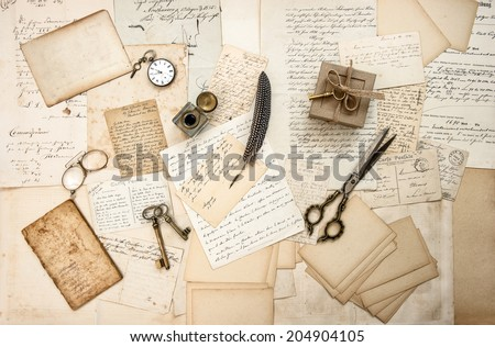 old letters and antique office supplies. nostalgic sentimental background - stock photo