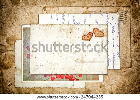 old letters and empty post card, vintage background - stock photo