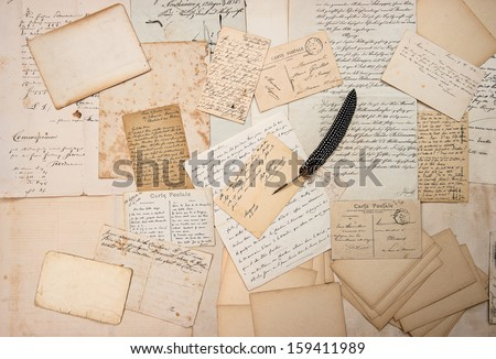 old letters, handwriting, vintage postcards and antique feather pen. nostalgic sentimental background. ephemera - stock photo