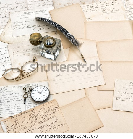 old letters, handwritings, vintage postcards and antique feather pen. nostalgic sentimental background - stock photo