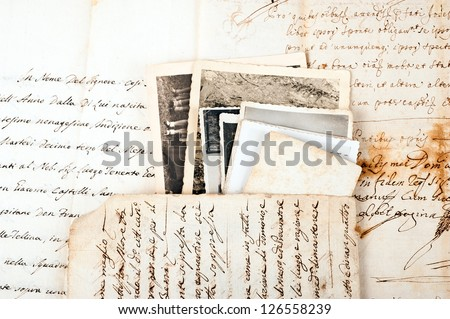 Old letters with old photos - stock photo