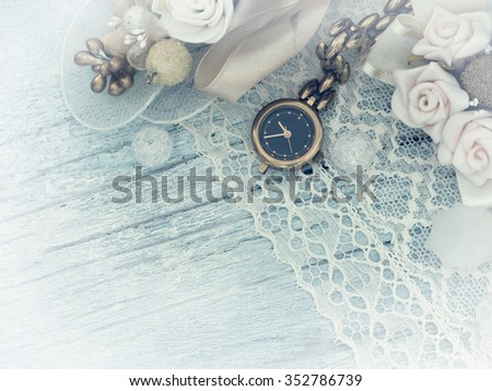 old letters with pen and watch - stock photo