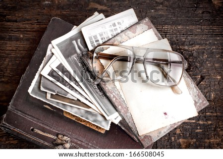 old lettersand post cards. nostalgic vintage background/ Vintage Letters,Photos of Memories, toned image - stock photo