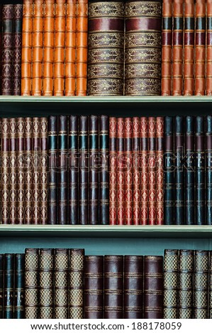 Old library of vintage hard cover books on shelves vertical