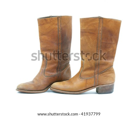 Old light brown leather boots