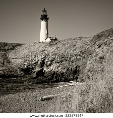 Old Light House Vintage Black and White Sepia Toned - stock photo