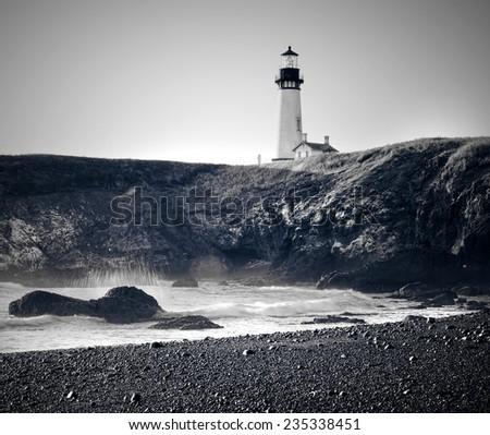Old Light House Vintage Film Black and White, Oregon Coast USA - stock photo