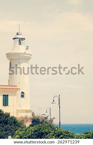 Old lighthouse. Italy, Lazio, San Felice Circeo - stock photo