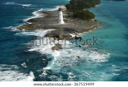 Old lighthouse near Nassau in the Bahamas - stock photo