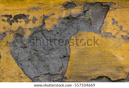 Old Lime Wash Plaster Wall With Cracked Surface Horizontal Empty Grunge Background. Orange Brick Mortar Wall With Shabby Stucco Finishing Layer Isolated Texture. Empty Painted Jagged Rustic Wallpaper