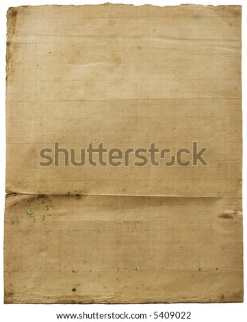 Old lined (gas-mantle) grunge vintage paper with folds. Image on white. See full size! - stock photo