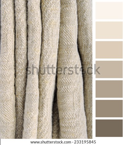 old linen ancient fabric color chart selection complimentary - stock photo