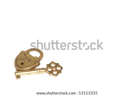 Old lock and key - stock photo