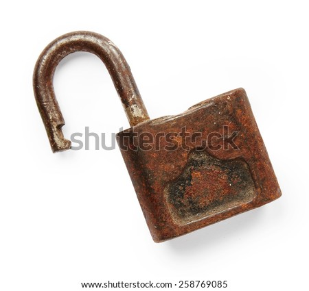 Old lock isolated on white background