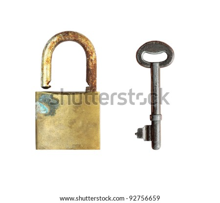 Old lock with vintage key on white background, clipping path - stock photo