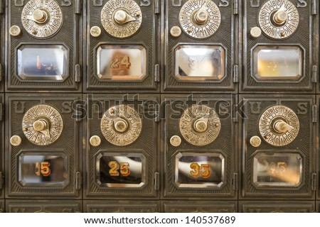 old locking mechanisms for PO Boxes - stock photo