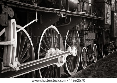 old locomotive in warm black and white - stock photo