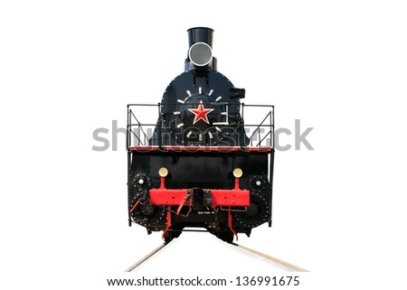 Old locomotive isolated on a white - stock photo