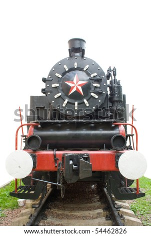 Old locomotive isolated with grass on white