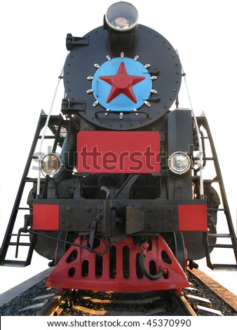 old locomotive on white background. - stock photo