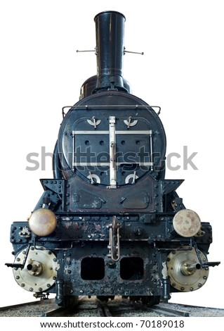 Old locomotive with tracks isolated on white. - stock photo