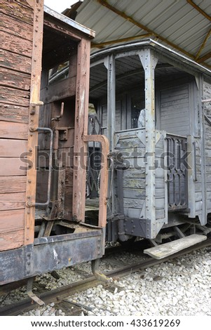 old locomotives and wagons, their parts from wood and metal