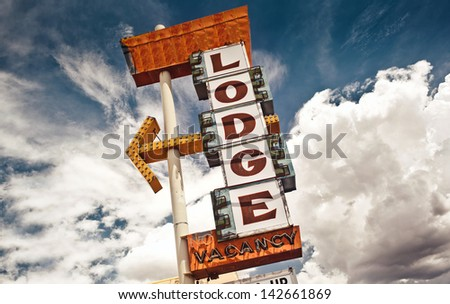 Old Lodge sign on Route 66, USA - stock photo