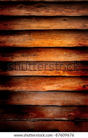 Old log cabin wood wall background or backdrop - stock photo