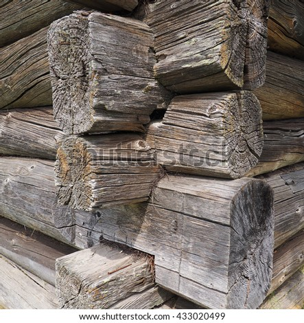 old log house fragment - stock photo