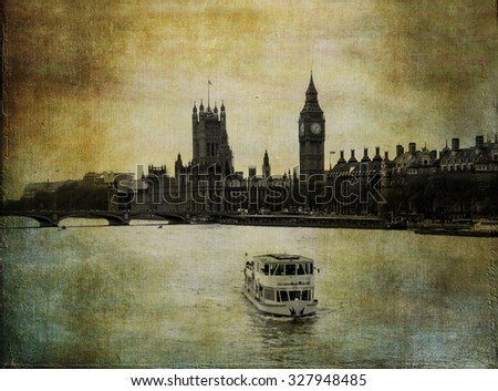 Old London image, river Thames with Big Ben clock tower in vintage background - stock photo