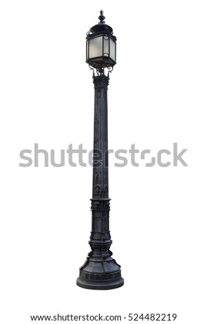Old London lamp post isolated on white