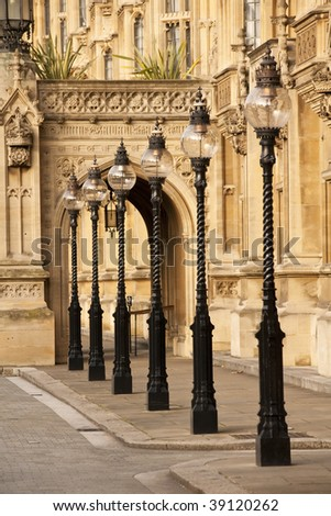 Old London Street Lamps, London, England UK - stock photo