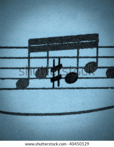 Old-looking blue washed grungy music manuscript with four rising notes, one of them standing out & different by being sharp. - stock photo