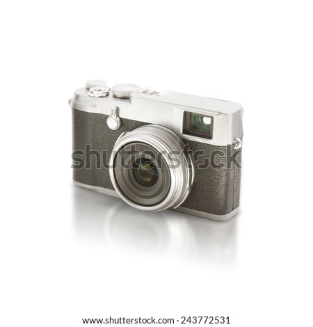 Old looking camera on white - stock photo