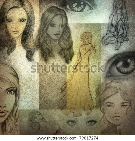 old looking collage of hand drawn ladies and eyes in warm sepia brown tones with grunge textured background and copy space - stock photo