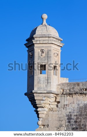 Old lookout tower in Saint Michael fort. Malta