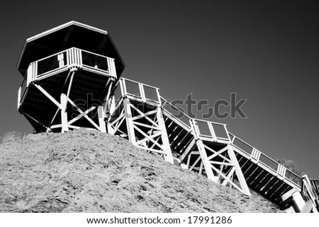 Old lookout watch tower in Quebec City - stock photo