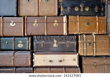 Old luggage. Can be used as background. - stock photo