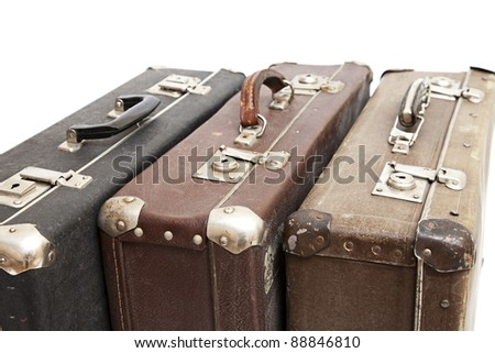 Old luggage isolated on a white background