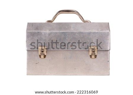 Old lunchbox isolated on white - stock photo
